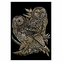 Engraving Art Gold - Owls