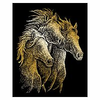 Engraving Art Gold - Horses