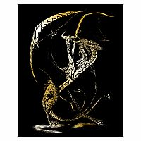 Engraving Art Gold - 3 Headed Dragon