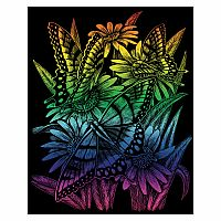 Engraving Art Rainbow - Butterflies & Daisies