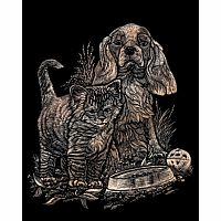 Engraving Art Copper - Kitten & Puppy