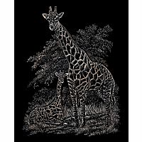 Engraving Art Copper - Giraffe & Baby
