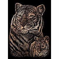 Engraving Art Copper - Mini Tiger & Cub